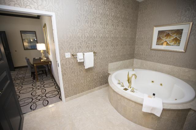The bathroom inside the Nice suite at the Paris casino-hotel is seen on Wednesday, March 16, 2016, in Las Vegas. Erik Verduzco/Las Vegas Review-Journal Follow @Erik_Verduzco