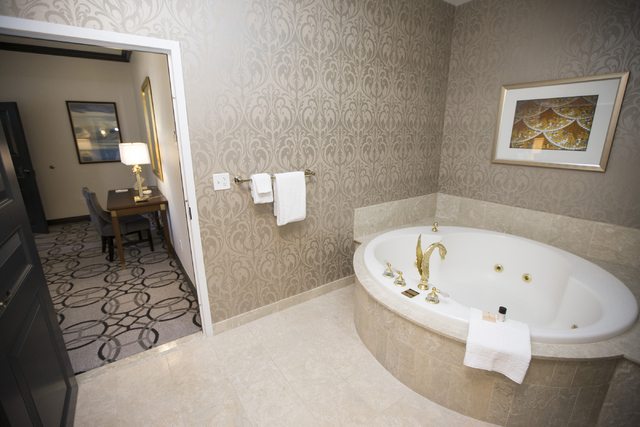 The bathroom inside the Nice suite at the Paris casino-hotel is seen on Wednesday, March 16, 2016, in Las Vegas. Erik Verduzco/Las Vegas Review-Journal Follow @Erik_Verduzco