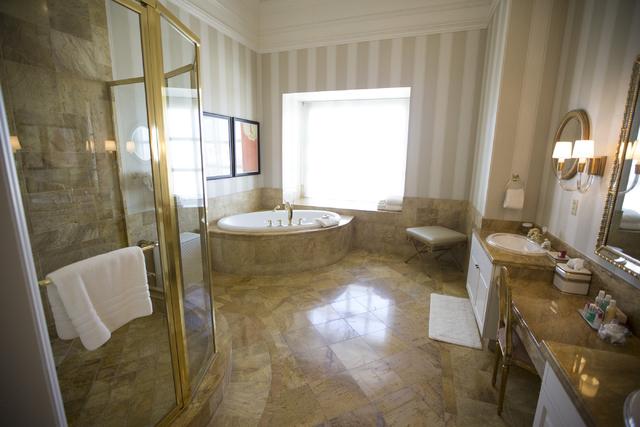 The master bathroom inside the Napoleon suite at the Paris casino-hotel is seen on Wednesday, March 16, 2016, in Las Vegas. Erik Verduzco/Las Vegas Review-Journal Follow @Erik_Verduzco