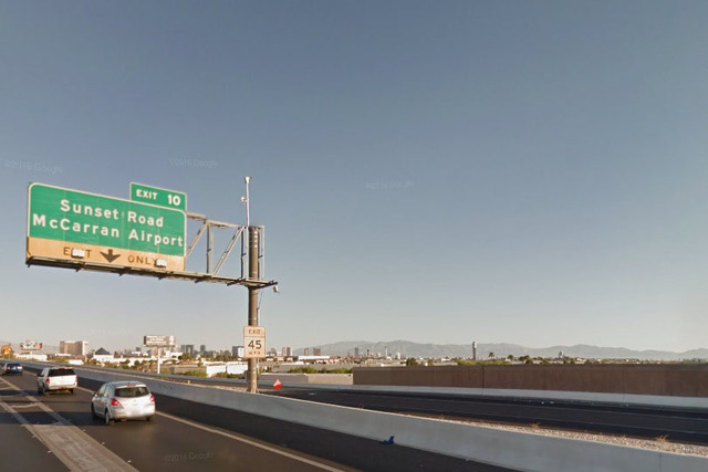 Exit 10 for Sunset Road and McCarran International Airport (Google Street View)
