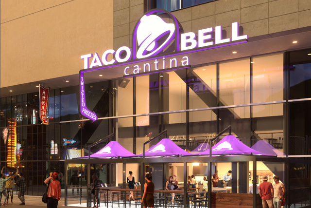 A rendering is seen of Taco Bell's proposed two-story restaurant on the Strip. (Taco Bell)