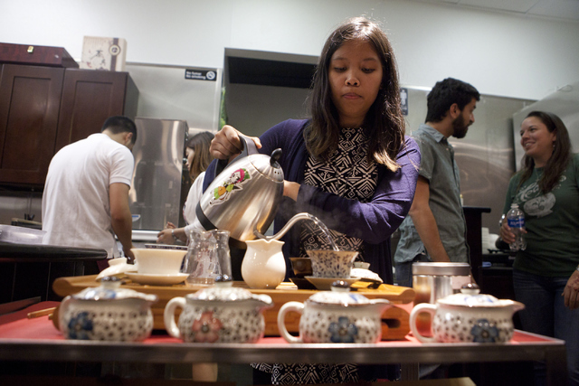 Rie Tulali prepares the tea at the tea tasting event at Niu-Gu Noodle House on Wednesday, June 15, 2016, in Las Vegas. (Loren Townsley/Las Vegas Review-Journal) Follow @lorentownsley