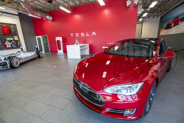The Tesla Motors showroom in Las Vegas is shown on Tuesday, April 5, 2016. (Joshua Dahl/Las Vegas Review-Journal)