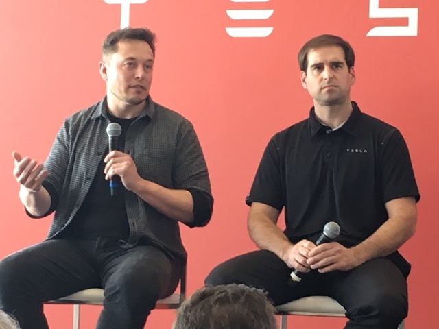Tesla CEO Elon Musk and JB Straubel, chief technical officer for Tesla, answer questions Tuesday, July 26, 2016, at the Gigafactory east of Reno. Sean Whaley/Las Vegas Review-Journal