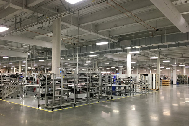 Inside the Tesla Gigafactory. (Sean Whaley/Las Vegas Review-Journal)