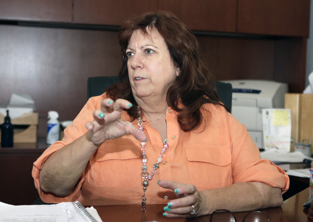 Henderson Police Communications Center Administrator Barbara Brabenec speaks about their 9-1-1 texting program during an interview at her office at the HPD building on Thursday, July 14, 2016. (Bi ...
