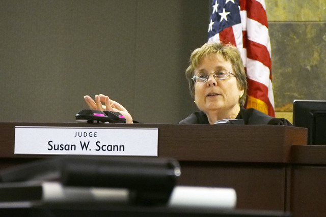 Judge Susan W. Scann makes her determination concerning The Sands Corporation v. The Act at the Regional Justice Center in Las Vegas, Friday, Sept. 13, 2013. The judge ruled that certain simulated ...