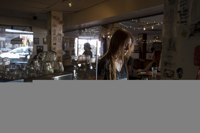 Barista Madison Haner works at The Beat Coffeehouse & Records on Friday, July 1, 2016, in Las Vegas. The shop will close later this year. (Bridget Bennett/Las Vegas Review-Journal) Follow @bri ...