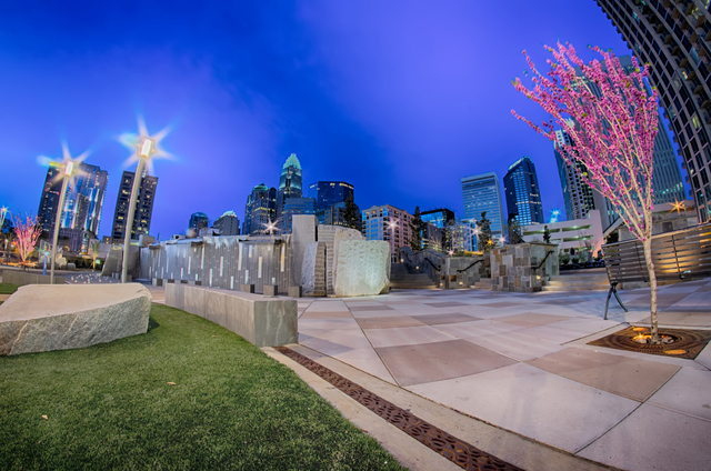 Charlotte skyline at Romare Bearden Park and bbt Knights baseball stadium. (Thinkstock)