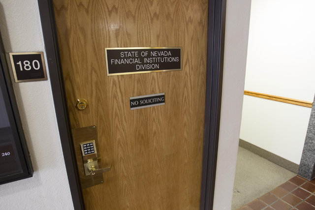 The entrance to the State of Nevada Financial Institutions Division office located at 2785 Desert Inn Road in Las Vegas on Monday, July 18, 2016. Richard Brian/Las Vegas Review-Journal Follow @veg ...