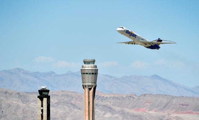 An Allegiant Air passenger jet takes off from McCarran International Airport in Las Vegas. (David Becker/Las Vegas Review-Journal)