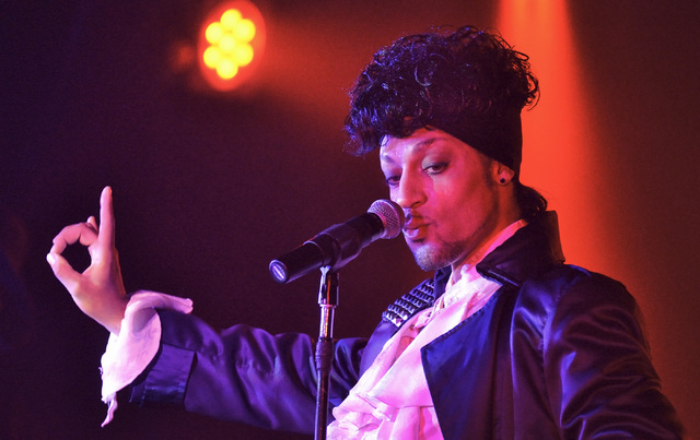 "Jason Tenner performs as Prince during ""Purple Reign"" at The D Las Vegas on July 26 , 2014, in downtown Las Vegas. (Bill Hughes/Las Vegas Review-Journal)"