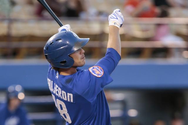 Las Vegas 51s outfielder Travis Taijeron is shown July 10, 2015, at Cashman Field. (Donavon Lockett/Las Vegas Review-Journal)