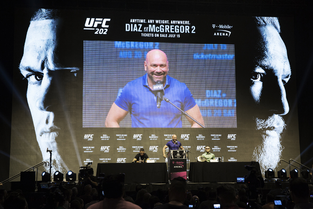 Nate Diaz, from left, UFC President Dana White and UFC featherweight champion Conor McGregor share a laugh during a press conference at T-Mobile Arena on Thursday, July 7, 2016, in Las Vegas, to p ...