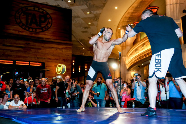 Eddie Alvarez participates in a UFC open workout at the MGM Grand hotel-casino in Las Vegas on Tuesday, July. 5, 2016. (Elizabeth Brumley/Las Vegas Review-Journal) Follow @elipagephoto