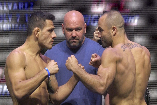 The UFC Fight Night 90 co-main and main event stars weigh-in. Eddie Alvarez challenges Rafael dos Anjos for the UFC lightweight title in the main event. (Heidi Fang/Las Vegas Review-Journal)