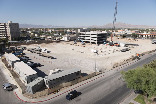 Construction for the U District development replaces a former section of University Park apartments at Maryland Parkway and Cottage Grove Avenue Wednesday, July 13, 2016. (Jason Ogulnik/Las Vegas  ...