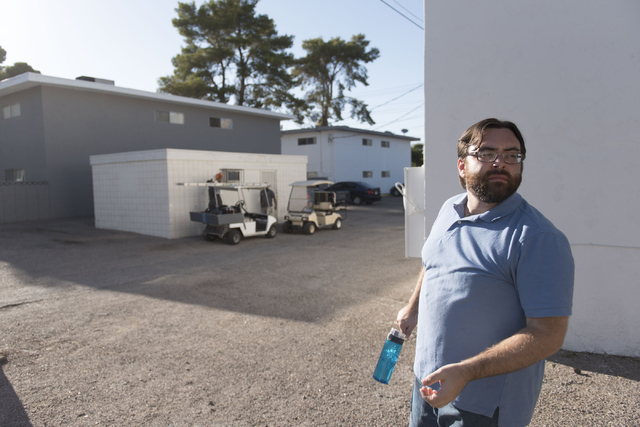University Park apartments resident, William Wolfs, walks through the apartment property at Maryland Parkway and Cottage Grove Avenue Wednesday, July 13, 2016. (Jason Ogulnik/Las Vegas Review-Journal)
