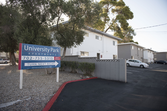 University Park apartments at Maryland Parkway and Cottage Grove Avenue is seen Wednesday, July 13, 2016. (Jason Ogulnik/Las Vegas Review-Journal)