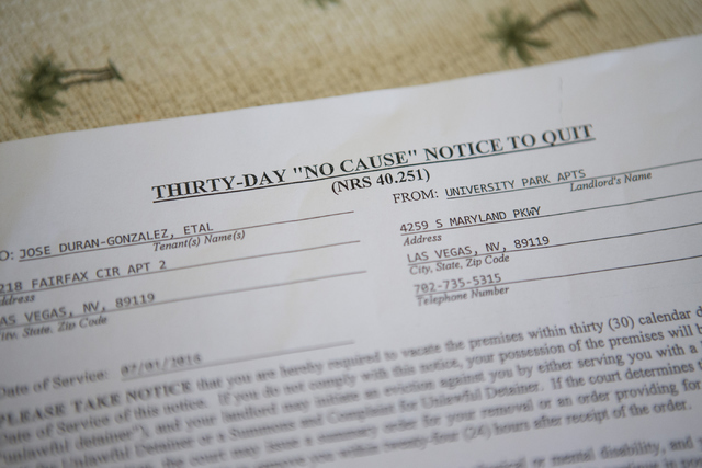A notice to vacate addressed to Jose Cruz Duran-Gonzalez is seen inside his two-bedroom apartment at the University Park Apartments on Thursday, July 14, 2016, in Las Vegas. (Erik Verduzco/Las Veg ...