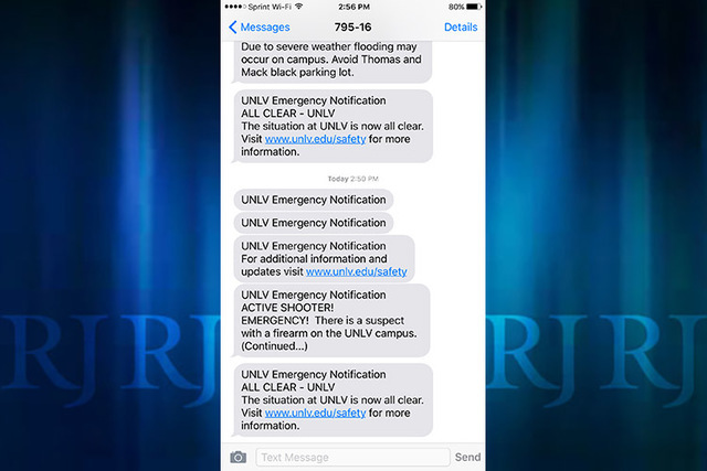 An on-campus, active shooter alert sent to UNLV students and faculty on Wednesday afternoon is seen in this screenshot.