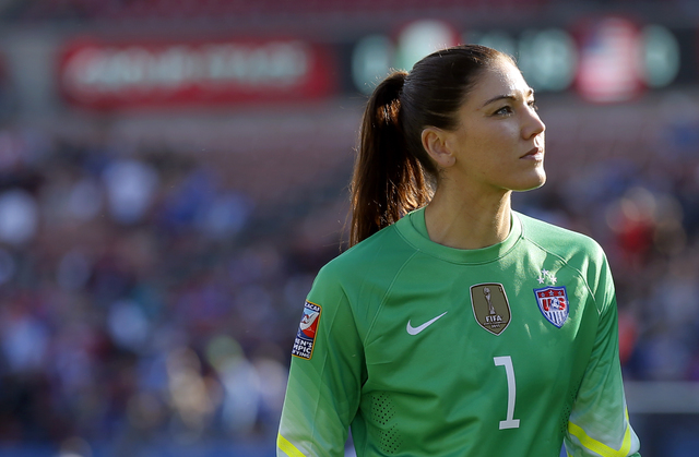 United States goalie Hope Solo walks off the field at half time of a CONCACAF Olympic qualifying tournament soccer match against Mexico in Frisco, Texas, Feb. 13, 2016. With 99 shutouts, Hope Solo ...