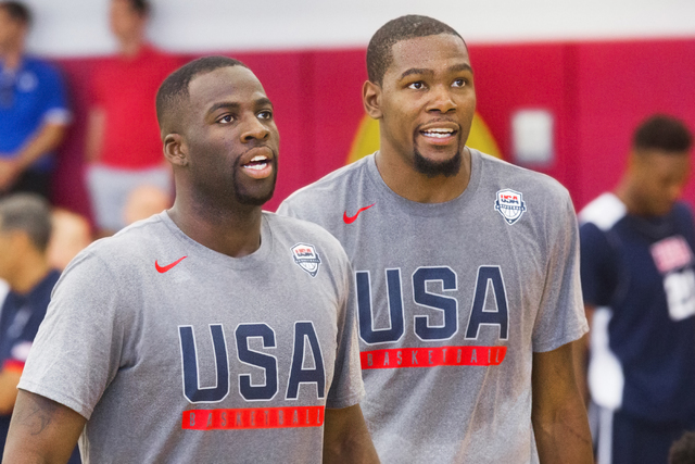 New Golden State Warriors teammates Draymond Green, left, and Kevin Durant work through shooting drills during the first day of Team USA basketball practice at the Mendenhall Center at UNLV on Mon ...
