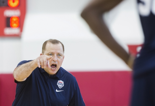Assistant coach Tom Thibodeau runs defensive drills during the first day of Team USA basketball practice at the Mendenhall Center at UNLV on Monday, July 18, 2016, in Las Vegas. (Benjamin Hager/La ...