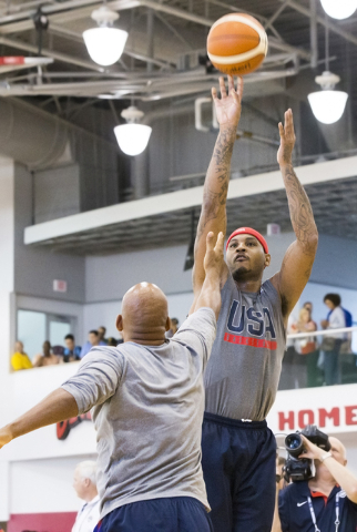 Forward Carmelo Anthony shoots jump shots during the first day of Team USA basketball practice at the Mendenhall Center at UNLV on Monday, July 18, 2016, in Las Vegas. (Benjamin Hager/Las Vegas Re ...