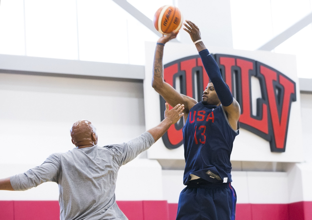 Guard Paul George shoots jump shots during offensive drills during the first day of Team USA basketball practice at the Mendenhall Center at UNLV on Monday, July 18, 2016, in Las Vegas. (Benjamin  ...