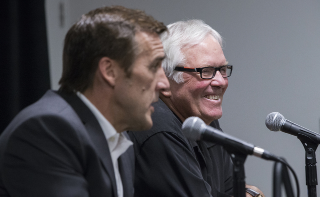 Bill Foley, right,  owner of Las Vegas' NHL expansion team, answers questions with George McPhee, the team's new general manager, at T-Mobile Arena on Wednesday, July 13, 2016, in Las Vegas. (Be ...