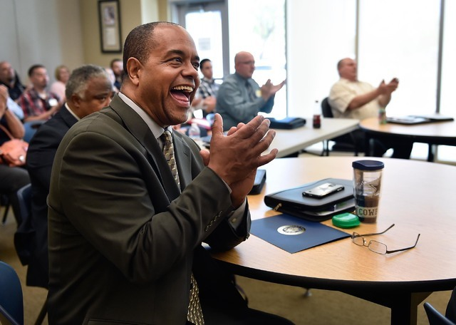 Patrick Elmore applauds during the Platform to Employment graduation ceremony at Vegas PBS Friday, July 22, 2016, in Las Vegas. Twenty-one veterans graduated from the five-week program designed to ...