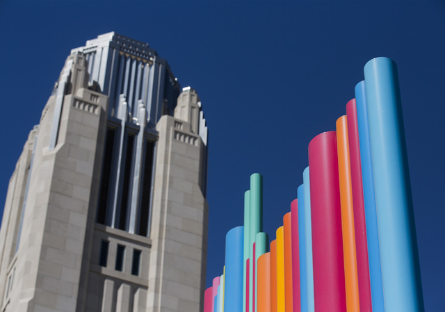 Artist Tim Bavington Pipe Dream art piece with The Smith Center for the Performing Arts is seen in the background on Tuesday, July 12, 2016. Jeff Scheid/Las Vegas Review-Journal Follow @jeffscheid