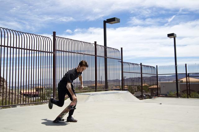 Keagan Crawford skateboards at Hidden Falls Park in Henderson on Saturday, July 9, 2016. (Daniel Clark/Las Vegas Review-Journal Follow @DanJClarkPhoto)