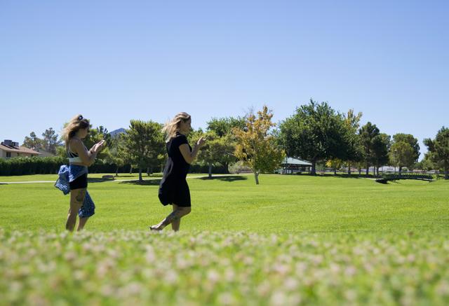 Castin Iglinski, left, and Shannon Iglinski use the Pokemon Go app at O'Callahan Park in Henderson on Saturday, July 16, 2016. Daniel Clark/Las Vegas Review-Journal Follow @DanJClarkPhoto