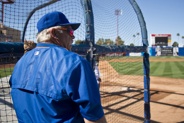 Manager Wally Backman (6) looks out over the field during media day for the Las Vegas 51s at Cashman Field in Las Vegas on April 5, 2016. (Daniel Clark/Las Vegas Review-Journal) Follow @DanJClarkPhoto