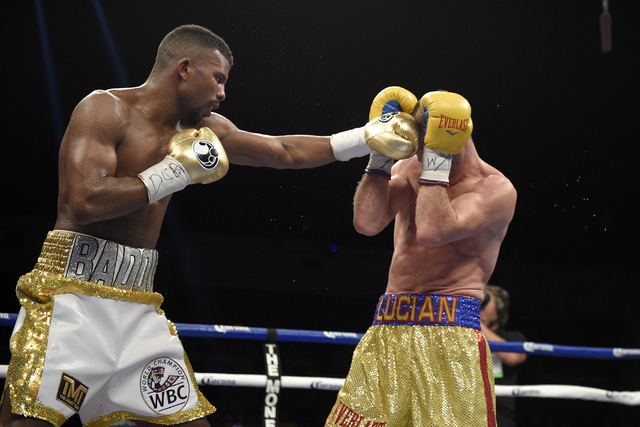 Badou Jack, left, fights Lucian Bute during a boxing match, early Sunday, May 1, 2016, in Washington. (Nick Wass/AP)