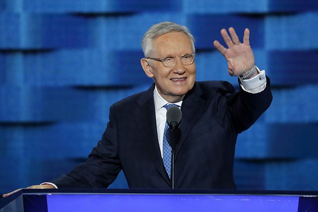 Senate Minority Leader Harry Reid of Nev., waves from the podium during the third day of the Democratic National Convention in Philadelphia , Wednesday, July 27, 2016. (J. Scott Applewhite/AP)