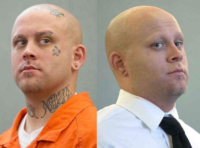 Bayzle Morgan appears before Judge Richard Scotti at the Regional Justice Center in Las Vegas on July 21, 2016, left, and after a courtroom makeup artist covered his tattoos with makeup for his tr ...