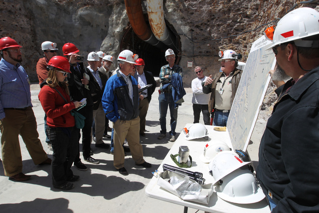Dean Stucker from the Department of Energy, second from right, gives a briefing before a congressional tour of the Yucca Mountain exploratory tunnel Thursday, April 9, 2015. (Sam Morris/Las Vegas  ...