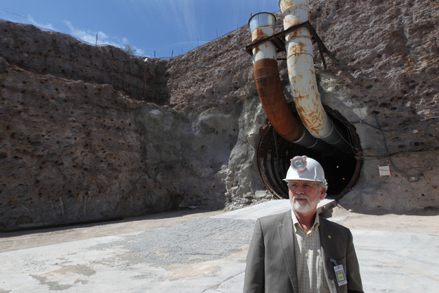 U.S. Rep. Dan Newhouse, R-Wash., looks around the south portal during a congressional tour of the Yucca Mountain exploratory tunnel Thursday, April 9, 2015. (Sam Morris/Las Vegas Review-Journal) F ...