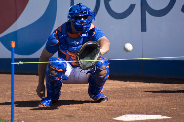 Nevin Ashley catches a ball during media day for the Las Vegas 51s at Cashman Field in Las Vegas in April. (Daniel Clark/Las Vegas Review-Journal) Follow @DanJClarkPhoto