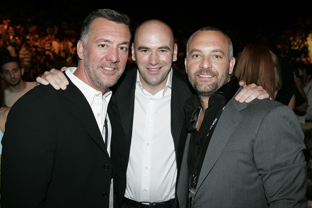UFC owners, from left, Frank Fertitta III, Dana White and Lorenzo Fertitta attend UFC 71, Saturday May 26th, 2007 at The MGM Grand Arena in Las Vegas. (AP Photo/Eric Jamison)