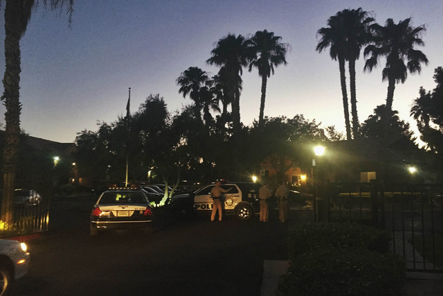 Police were called about 6:30 p.m., Monday, July 11, 2016, to a fatal shooting at Alterra Apartments, 2701 N. Decatur Blvd. (Rachel Crosby/Las Vegas Review-Journal)