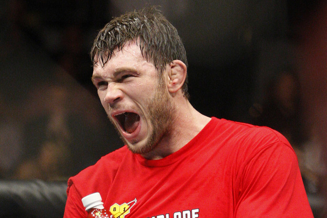Forrest Griffin, shown celebrating a victory over Rich Franklin in a light heavyweight fight at UFC 126 in February 2011, will be out in the Las Vegas community during International Fight Week as  ...