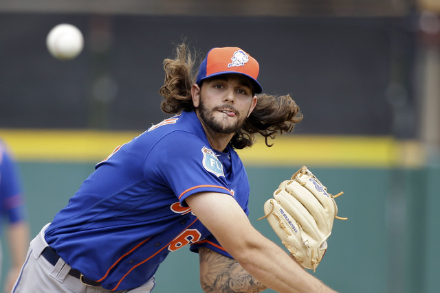 Robert Gsellman pitches for the New York Mets in spring training on March 14, 2016, in Lakeland, Fla. He pitched for the Las Vegas 51s on July 9 at Cashman Field. (John Raoux/Associated Press)