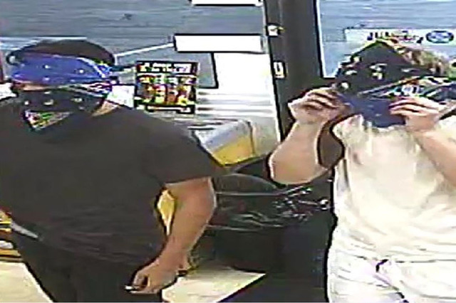 Police are looking for two men who robbed two different businesses in the southeast valley Sunday morning. (Courtesy LVMPD)