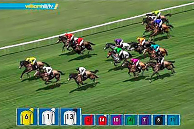 William Hill Virtual Racing, featured in this screen shot, is available to be bet on at two of their locations, in the Plaza and Silver Sevens race books. (Courtesy William Hill Virtual Racing)