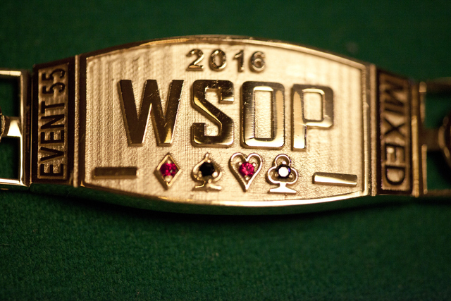 Loren Townsley/Las Vegas Review-Journal Follow @lorentownsley A World Series of Poker bracelet is displayed at the Rio Convention Center in Las Vegas on Tuesday, July 5, 2016.