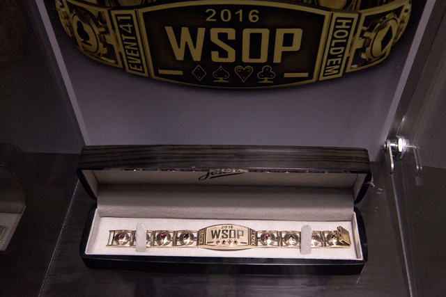 A World Series of Poker bracelet is displayed at the Rio Convention Center in Las Vegas on Tuesday, July 5, 2016. Loren Townsley/Las Vegas Review-Journal Follow @lorentownsley